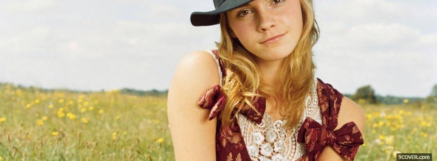 Photo emma watson with hat Facebook Cover for Free
