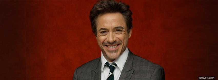 Photo celebrity robert downey jr smiling Facebook Cover for Free