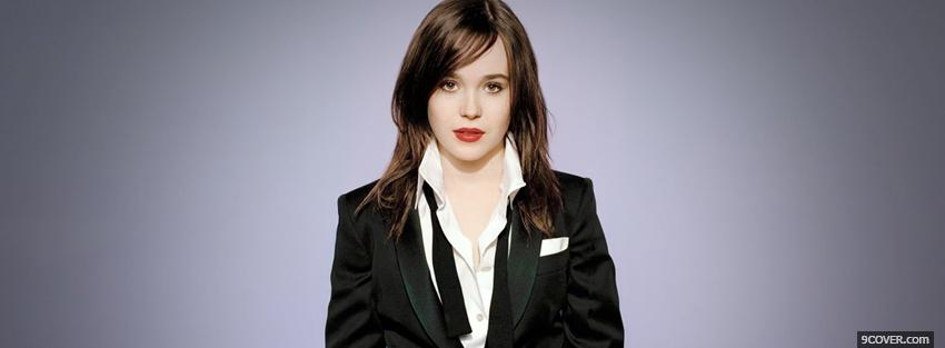 Photo ellen page in suit and red lips Facebook Cover for Free
