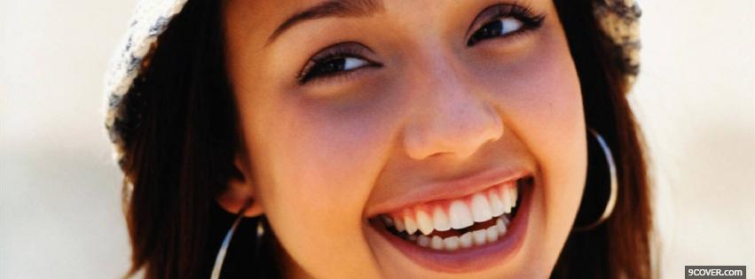 Photo smiling celebrity jessica alba Facebook Cover for Free