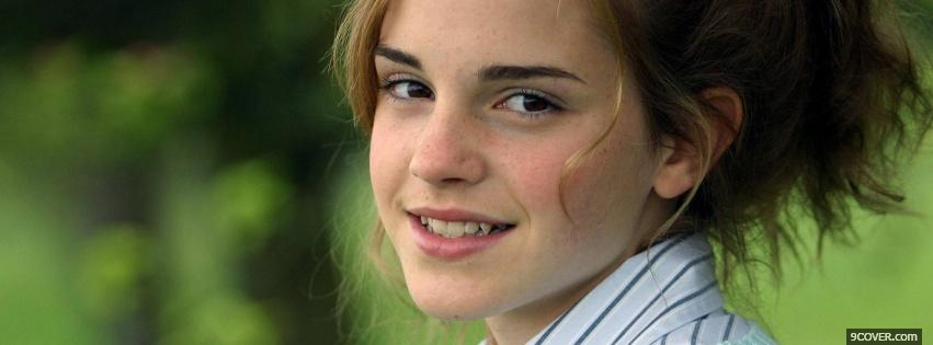Photo emma watson with hair up Facebook Cover for Free