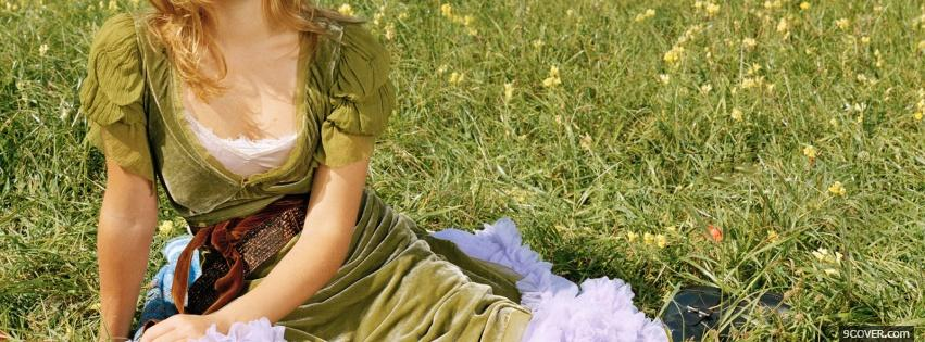 Photo emma watson laying in the grass Facebook Cover for Free