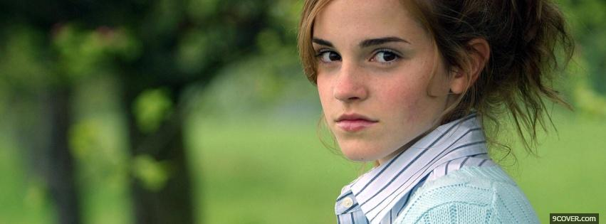 Photo emma watson serious face Facebook Cover for Free