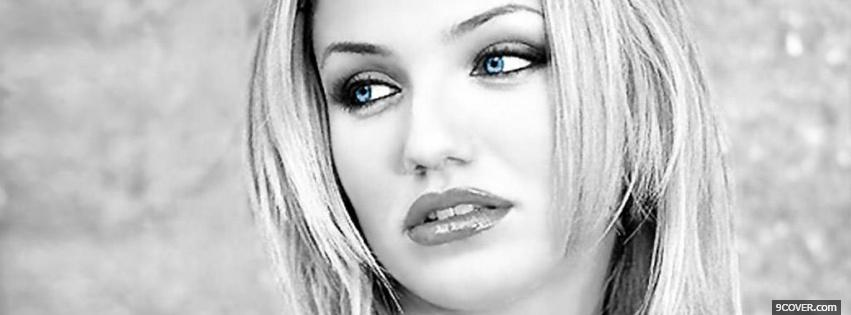 Photo beautiful black and white cameron diaz Facebook Cover for Free