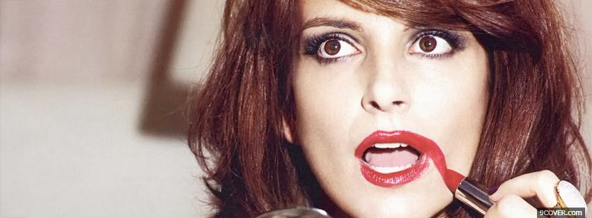 Photo tina fey red lipstick mistake Facebook Cover for Free