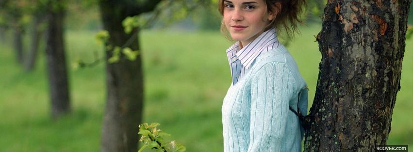 Photo emma watson with trees Facebook Cover for Free