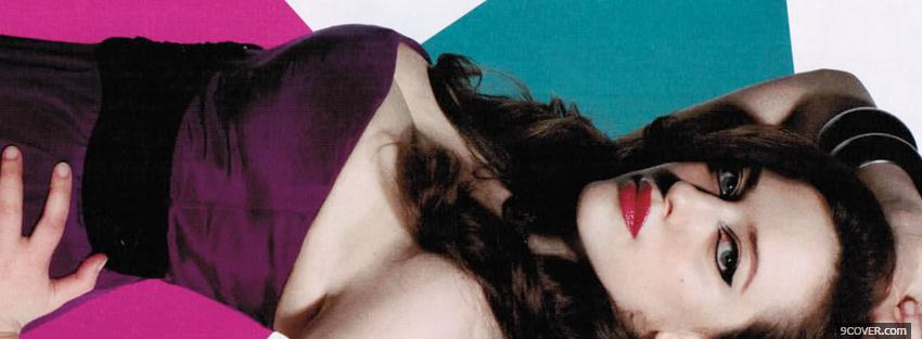 Photo red lips purple dress kat dennings Facebook Cover for Free