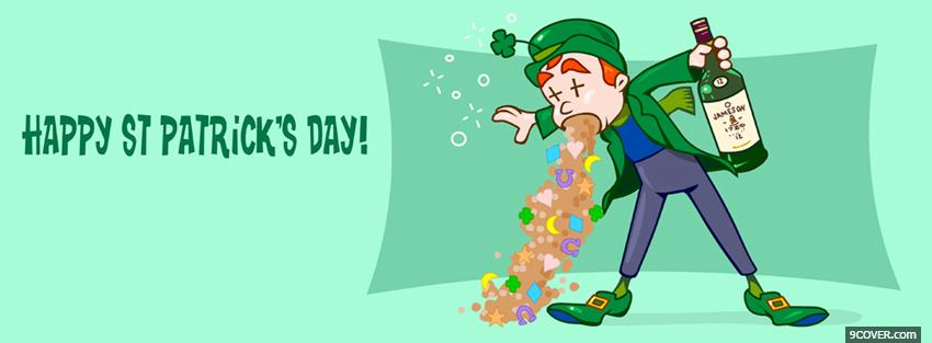 Photo funny leprechaun vomiting cereal Facebook Cover for Free