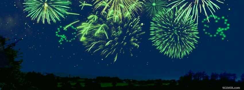 Photo st patrick green fireworks Facebook Cover for Free