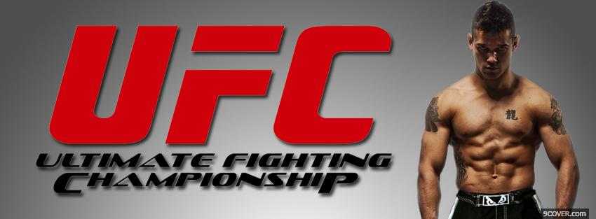 Photo red ufc logo and fighter Facebook Cover for Free