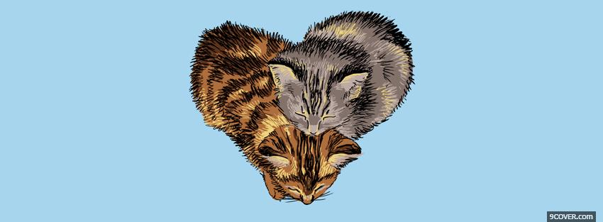 Photo cats and heart animals Facebook Cover for Free