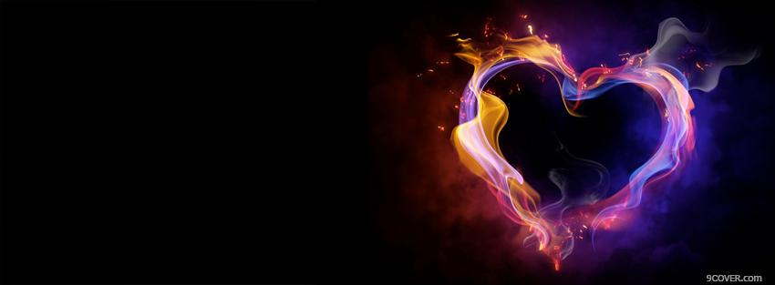 Photo intense fiery heart Facebook Cover for Free