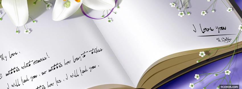 Photo beautiful open book of love Facebook Cover for Free