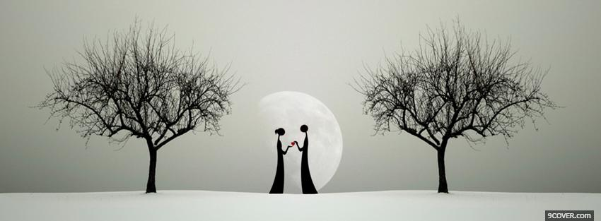 Photo moon and couple in love Facebook Cover for Free