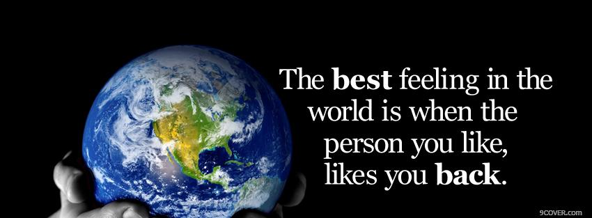 Photo best feeling in the world Facebook Cover for Free