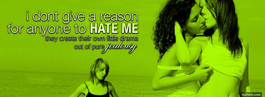 Photo girls kissing pure jealousy quotes Facebook Cover for Free