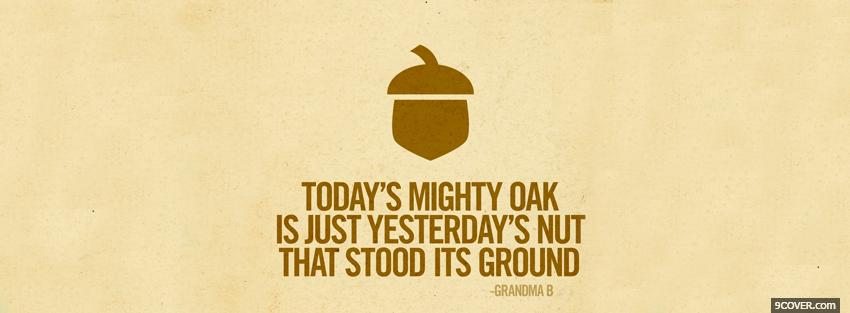 Photo todays mighty oak quotes Facebook Cover for Free