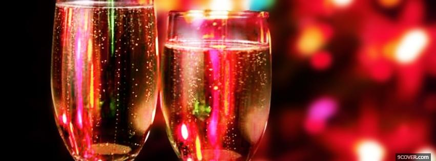 Photo champagne for christmas Facebook Cover for Free