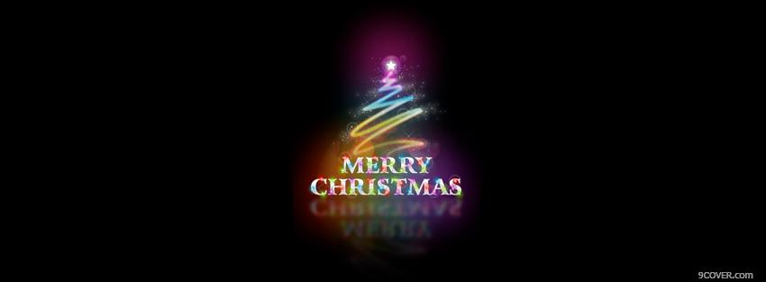 Photo merry christmas neon tree Facebook Cover for Free