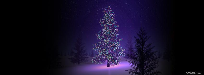 Christmas Tree In Forest Photo Facebook Cover