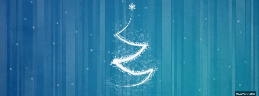 Photo blue white christmas tree Facebook Cover for Free