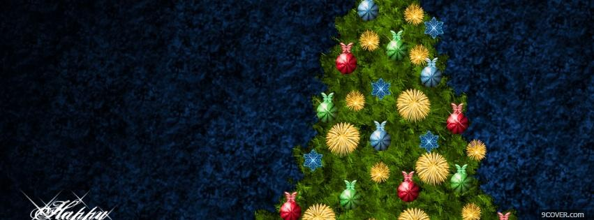 Photo christmas tree with ornaments Facebook Cover for Free