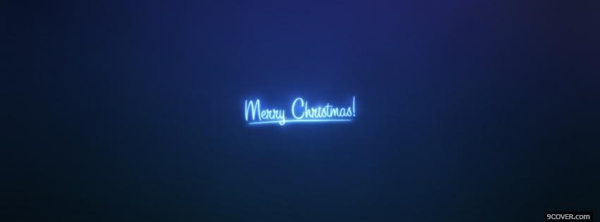 Photo neon blue merry christmas Facebook Cover for Free