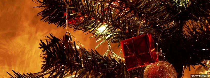 photo nice christmas decorations on tree facebook cover for free