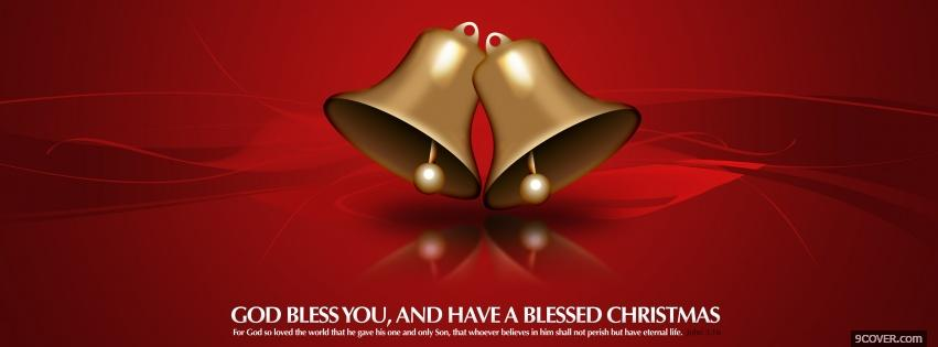 Photo red gold festive bells Facebook Cover for Free