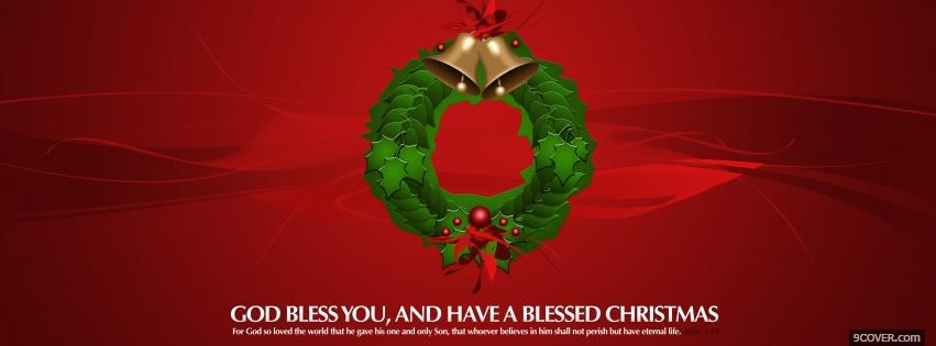 Photo christmas wreath and bells Facebook Cover for Free