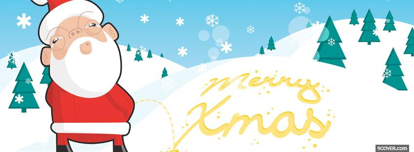 Photo Funny Santa Claus And Mountains Facebook Cover For Free