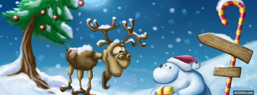Photo polar bear and reindeer Facebook Cover for Free
