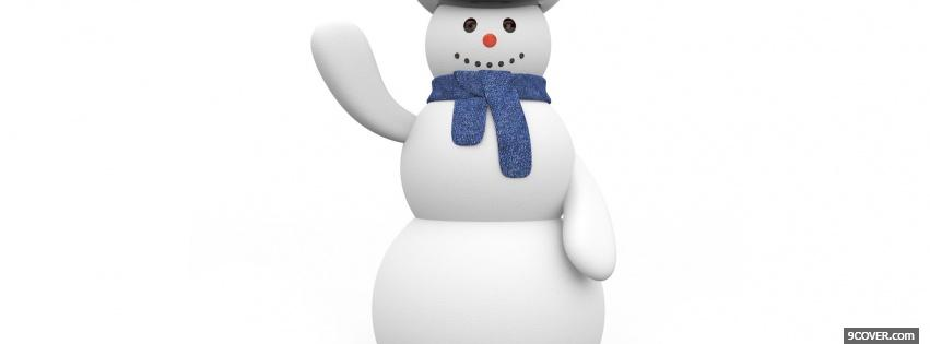Photo snowman saying hi Facebook Cover for Free