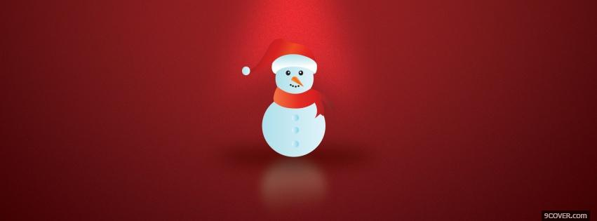 Photo snowman with red hat Facebook Cover for Free