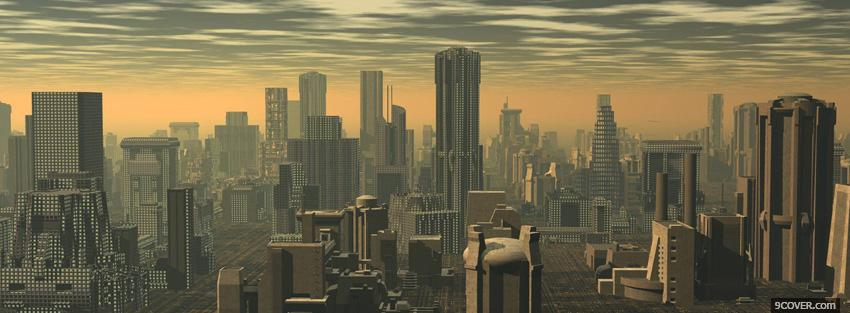 Photo the city sunset 3d buildings Facebook Cover for Free