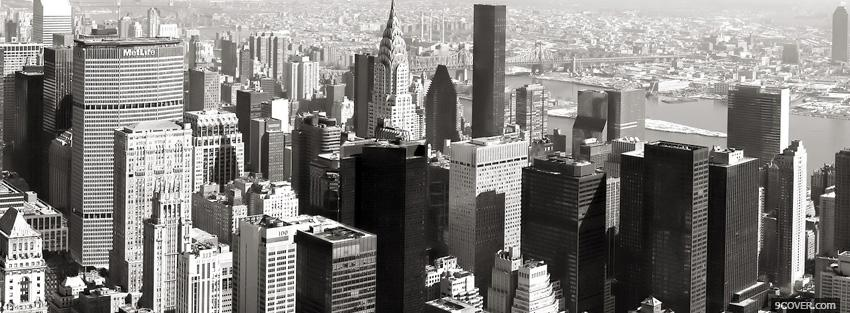 Photo black and white panorama new york 2012 Facebook Cover for Free