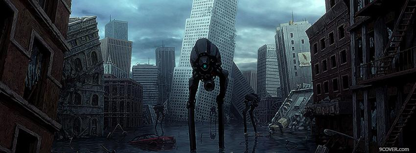 sci fi city with monster Photo