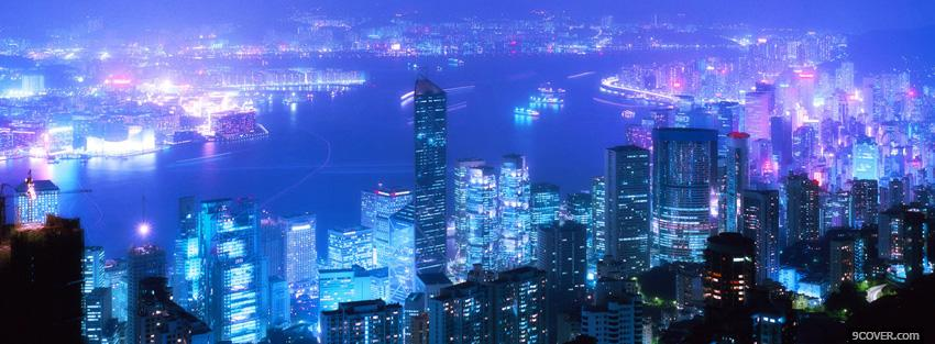 Beautiful City Lights And Buildings Photo Facebook Cover