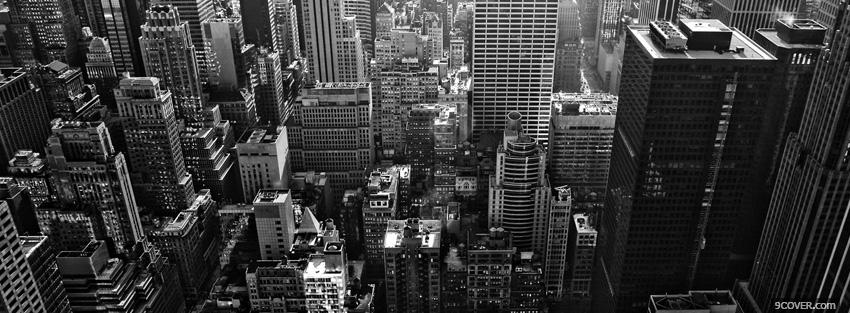 Photo black and white new york buildings Facebook Cover for Free