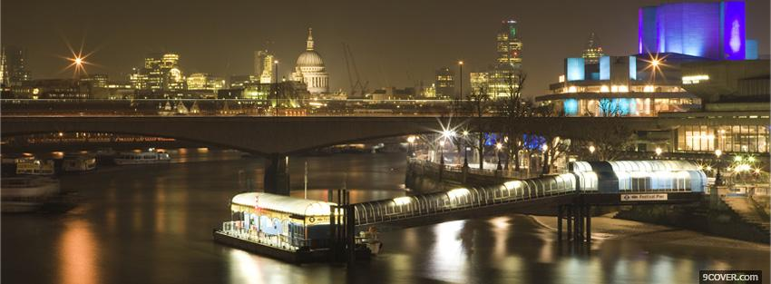 Photo city of london at night Facebook Cover for Free