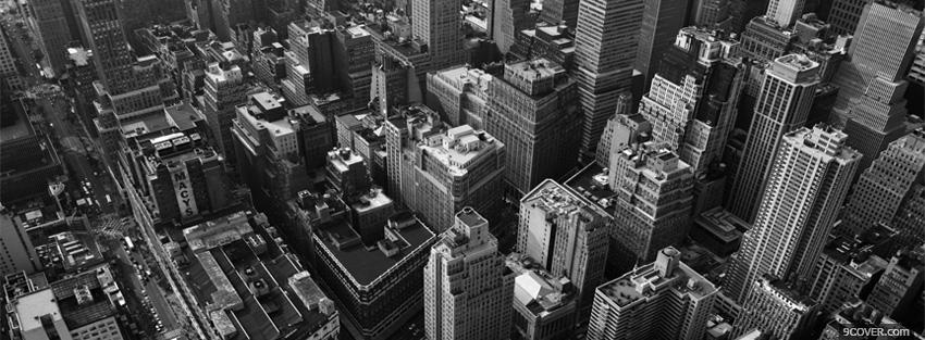 Photo black and white looking down on buildings Facebook Cover for Free