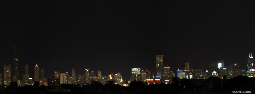 Photo city chicago night skyline Facebook Cover for Free