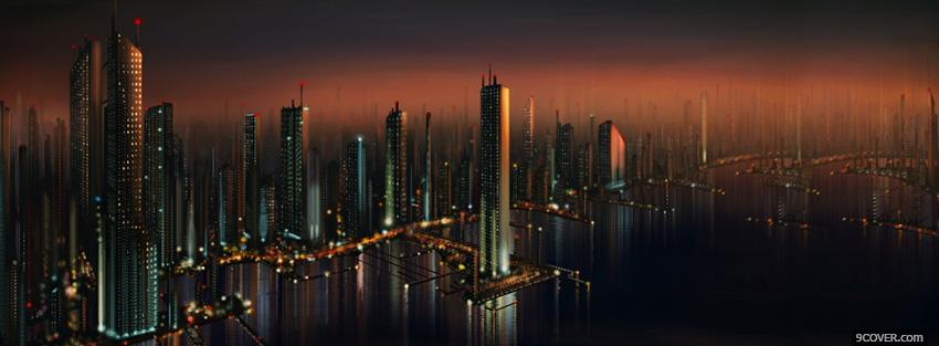 Photo city the future buildings at night facebook cover for free