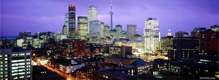 Photo city night in toronto canada Facebook Cover for Free