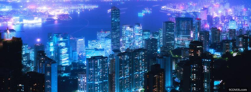 Photo the city of hong kong Facebook Cover for Free