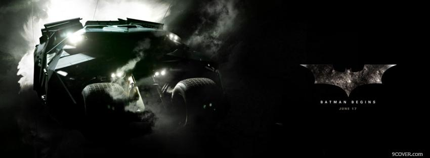 Photo movie batmobile in batman Facebook Cover for Free