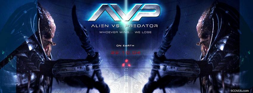 Photo alien vs predator whoever wins Facebook Cover for Free