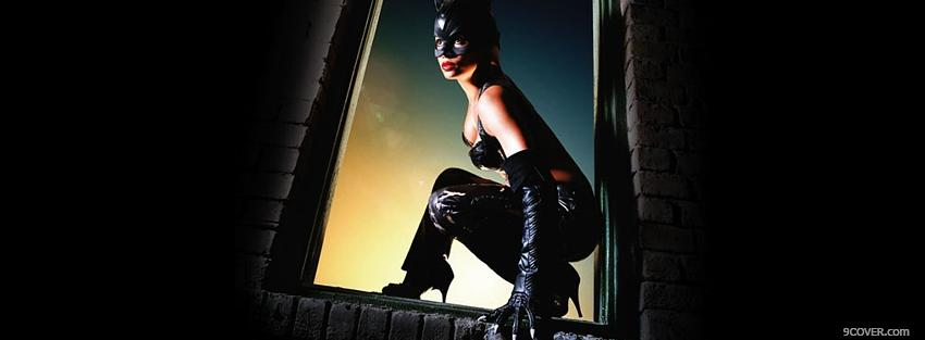 Photo movie catwoman in window Facebook Cover for Free