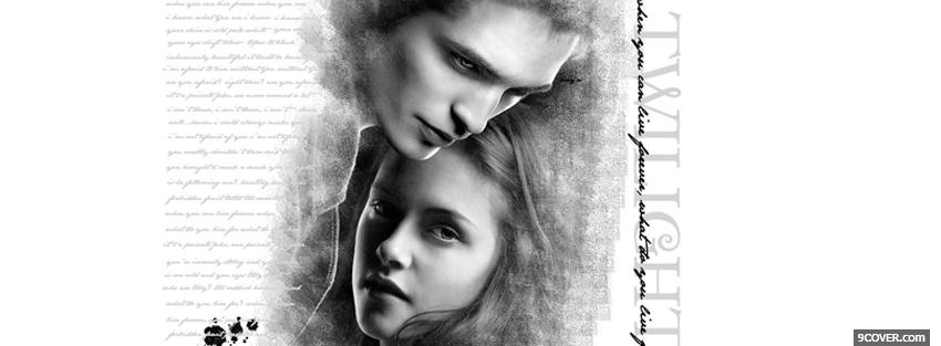 Photo black and white edward and bella Facebook Cover for Free