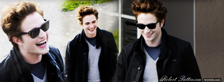 Photo movie actor robert pattison laughing Facebook Cover for Free